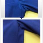 青いジャケットわき下の脱色復元加工